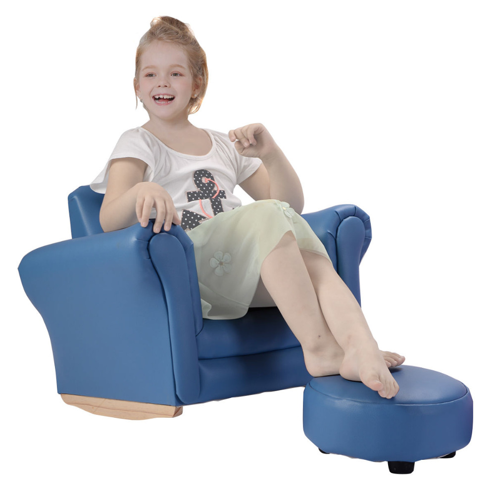 Goplus Kids Sofa With Footstool Armrest Chair Couch