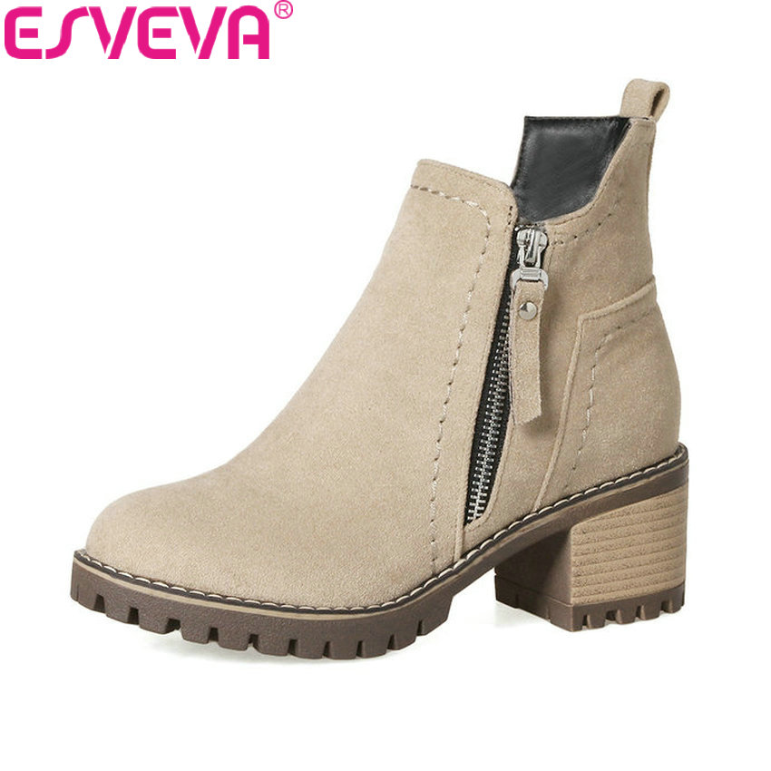 ESVEVA 2018 Women Boots Western Style Platform 1.5cm Short Plush Ankle Boots Square High Heel Round Toe Ladies Boots Size 34-43 esveva 2018 women boots sweet style zippers square high heels pointed toe ankle boots chunky short plush ladies shoes size 34 39
