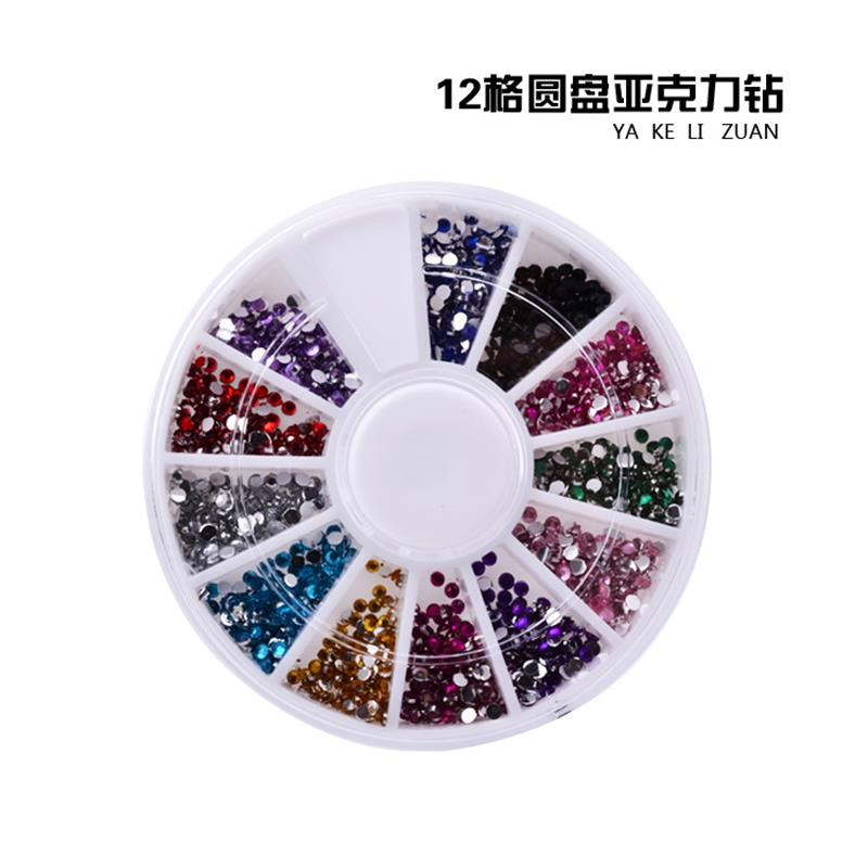 12 Colors 3D DIY glitter Rhinestones Design Wheel Charms jewelry Nail Art Micro Ball Decorations Manicure tools artlalic 1 wheel new 3d nail decorations tools charm perfume bottle flowers triangle rhinestones diy nail art jewelry promotion