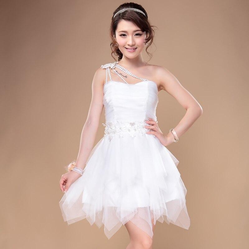 Graduation Dresses Short 2014 Summer Lady Sweet White Off