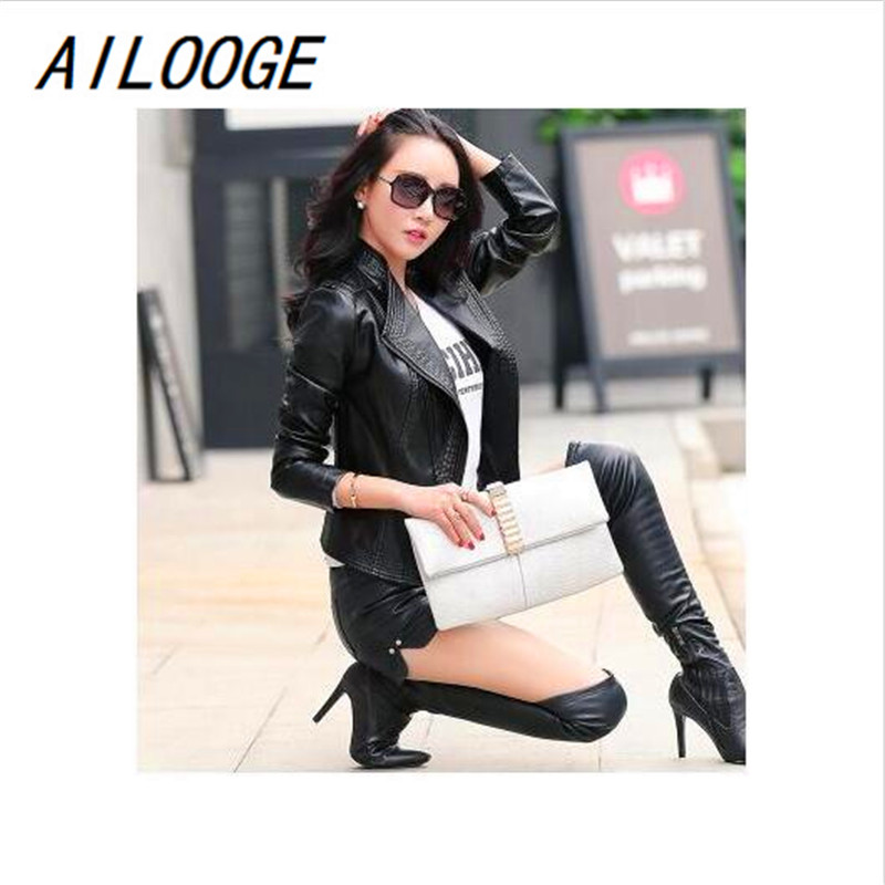 AILOOGE 2017 New Spring   Leather   Clothing Women's Stand Collar   Leather   Jacket Short Coat Slim Design Purple Women's Outerwear