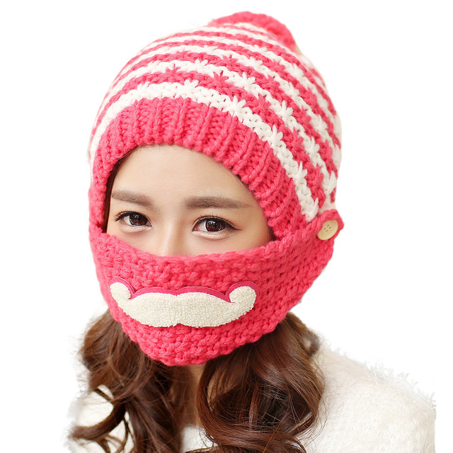 2017 Cute gorro invierno Beard Winter Hat For Women Fashion Beanies with  Mouth Mask Wool Hat Knit Cap Face Warm Ear Y8043 3e1181bc7