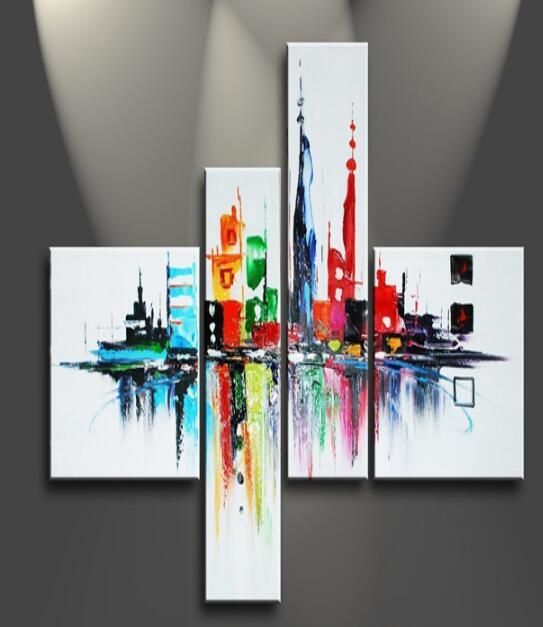 4231 100 Pintado A Mano Pinturas Al óleo Abstractas De Colores Edificio De Este Magnífico Edificios Altos 4 Paneles De Madera Enmarcado Obra