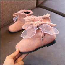 2018 Autumn winter new girls suede big bow boots boy warm Short boots children princess casual cotton shoes(China)
