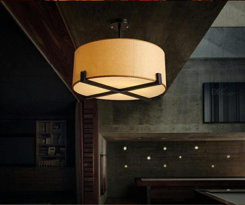 Потолочный светильник из ткани в американском стиле, Скандинавское светодиодное освещение для спальни, полупотолочный светильник для учеб...
