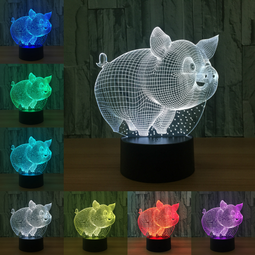 Lovely Pig Night Light 3D Lamp Bulbing Touch Switch Colorful Desk 7 Colors Change USB Table Desk Nightlight for Kids