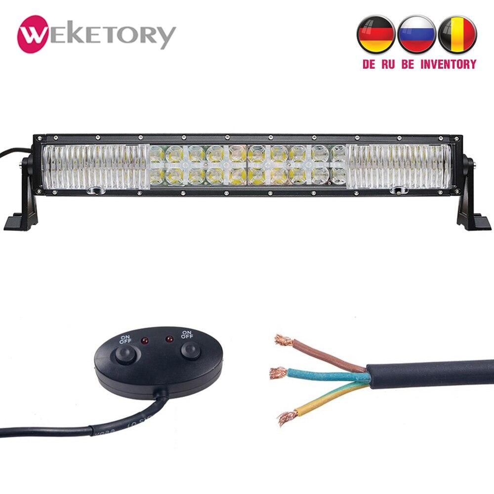 Weketory 7D 10 LED DRL 22 pouces 200 W LED Travail Light Bar pour Tracteur OffRoad 4WD 4x4 camion SUV ATV Spot Flood Combo Faisceau 12 V 24 v