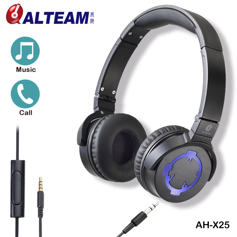 New Foldable Portable Wired Detachable Audio Cable Stereo Deep Bass Music On Ear Headphones with Microphone for ios android new foldable 3 5mm stereo headband headphone headset hand free call with microphone 1 5m cable for pc windows phone ios android