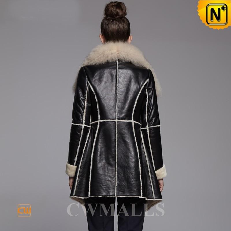 Online Shop Cwmalls Womens Black Shearling Fur Coats CW650306 ...