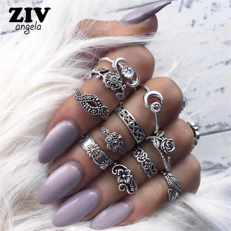 ZIVangela 11ชิ้น/เซ็ตแฟชั่นวินเทจพังก์MidiแหวนชุดเงินโบราณBohoสไตล์หญิงเสน่ห์เครื่องประดับแหวนสำหรับผู้หญิง