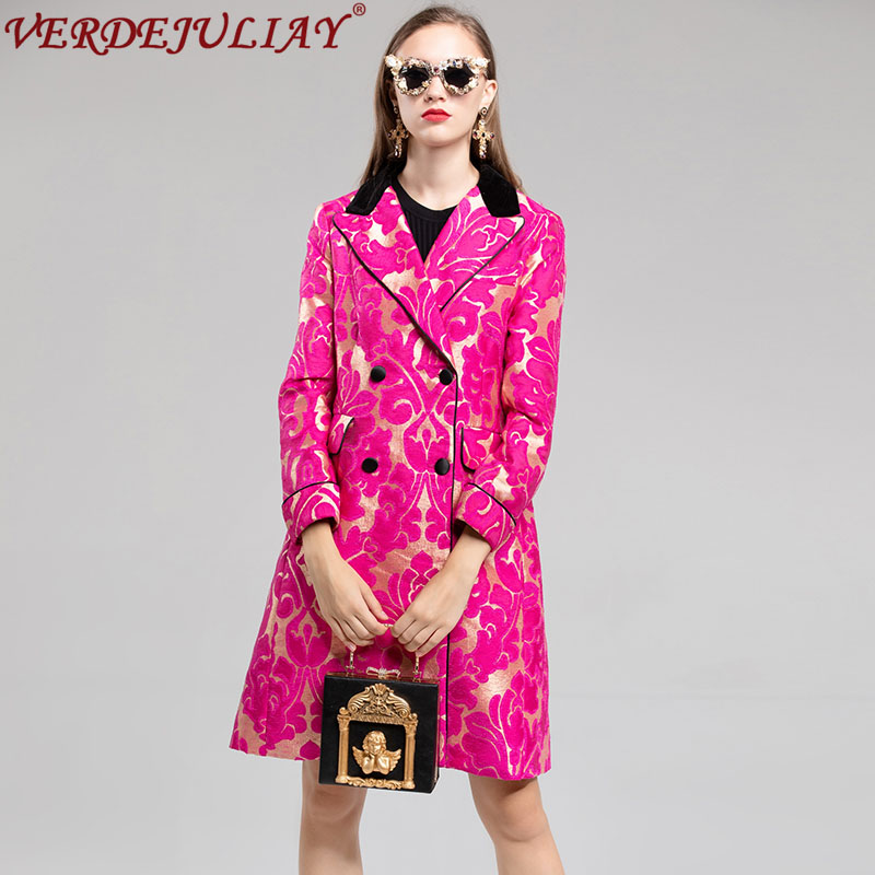 European Fashion 2018 Winter Women   Trench   Flowers Jacquard Turn-down Collar Double Breasted Ladies Long Slim Fuchsia Coat