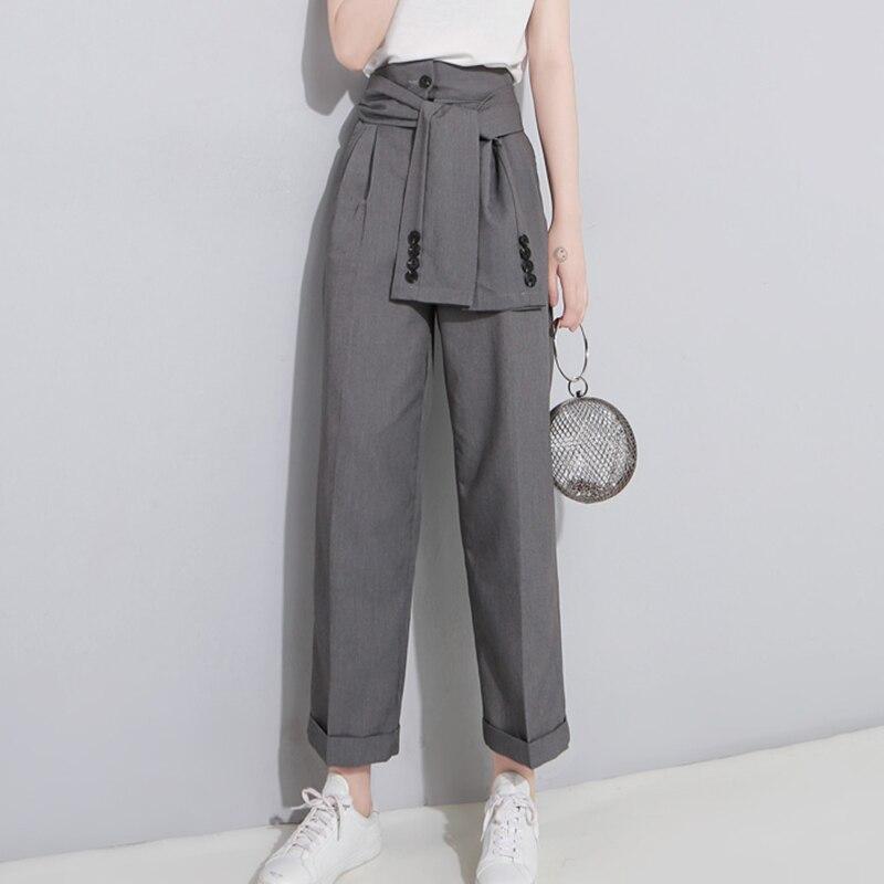 SHENGPALAE 2019 Spring High Waist Lace Up Black Slim Temperament Tide Trend Fashion New Women's Wild Casual   Wide     Leg     Pants   LA462