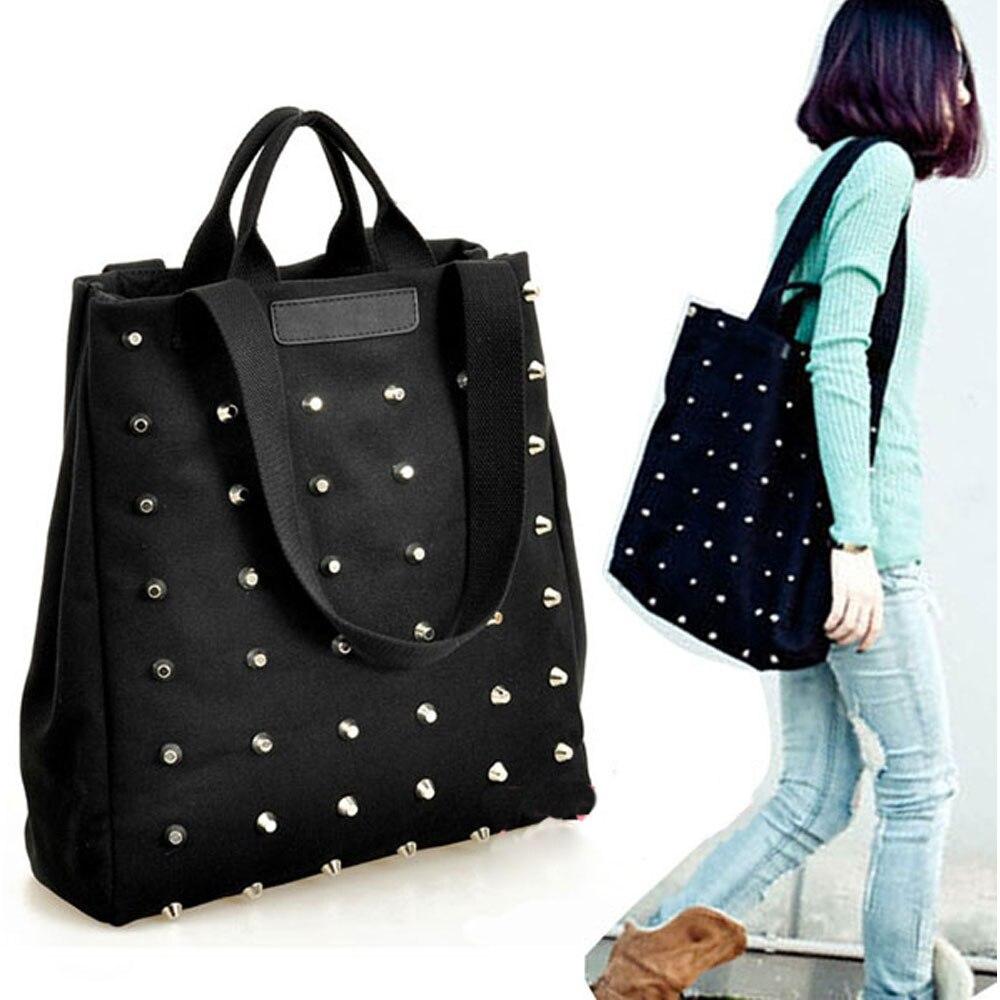 Fashion Good Women's Punk Style Rivets Canvas Handbag Tote Shoulder Bag Black High Quality Popular lz 042 cool style pu leather one shoulder bag handbag w rivets black