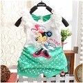 BibiCola Meninas recém-nascidas Conjuntos de Roupas Roupa Dos Miúdos Do Bebê Terno Crianças Dos Desenhos Animados de algodão de Manga Curta Dot T-Shirt + Calças curtas