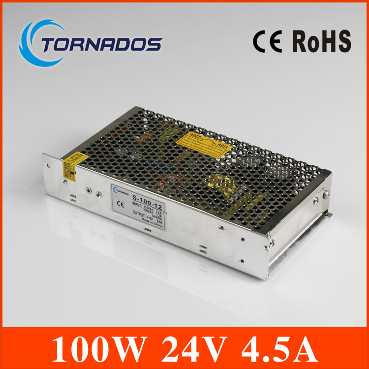 4.5A 24V 100W Compact Single Output Switching power supply for LED Strip light  AC-DC transformer 220v 24v Free Shipping led transformer 24v 60w ac dc power supply 110v 220v to 24v charger adapter for led strip led module light 3 year warranty