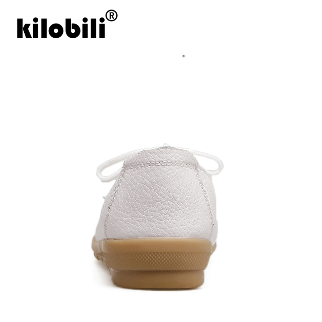 kilobili 2018 Autumn Women Flats Shoes Women Genuine Leather Shoes Ladies Fur Slip On Ballet Flats Loafers Female Ballerina 3