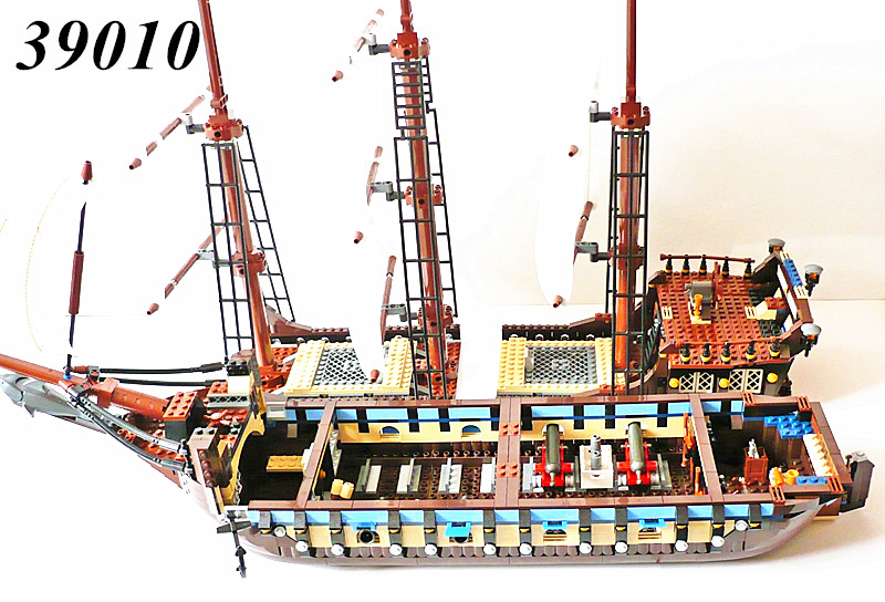 AIBOULLY NEW 39010 Pirate Ship Imperial warships Model Building Kits Block Briks Toys Toys For Children Gift 1717pcs 10210 new lepin 22001 pirate ship imperial warships model building block kitstoys gift 1717pcs compatible10210 children birthday