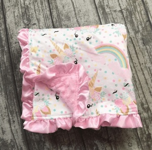 Image 5 - 2018 new baby unicorn floral blanket knitting shower gift cotton blanket flamingo feather baby super soft match car seat canopy