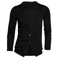 New Arrival Men Deep V Neck Long Sleeve Casual Slim Button Cardigans