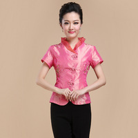Summer New Chinese Style Women Satin Tang Suit Tops Blouse Vintage Traditional Chinese Shirt M L
