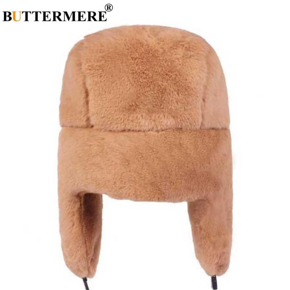 Меховые шапки BUTTERMERE женские шапки-бомберы розовая Зимняя шапка русская Женская Толстая теплая однотонная мягкая ветрозащитная шапка ушанка 2019