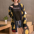 Character Embroidery Cardigans Women Sexy V-Neck Casual Knitted Sweater Long Sleeve Knitwear Jumper Coat Outwear Tops