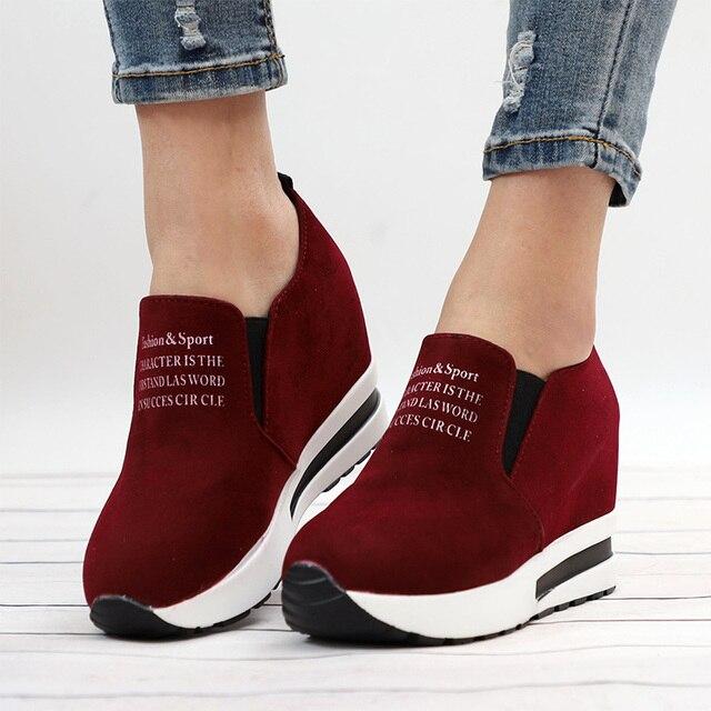 KHTAA Akın Bayan Ayakkabı Rahat Siyah/Kırmızı Düşük Topuklu Kadın Ayakkabı platform ayakkabılar Yüksekliği Artan Ayakkabı Drop Shipping 2019