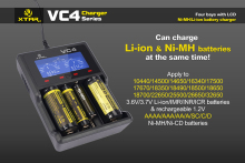 Original XTAR VC4 charger Universal LCD Screen Display Charging Capacity USB Ni-MH Li-ion Battery Charger 18650 For Flashlights