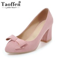 Taoffen Elegant Women High Heel Shoes Bowknot Party Pumps Thick Heels Pointed Toe Sexy Autumn Wedding Shoes Women Size 33 43