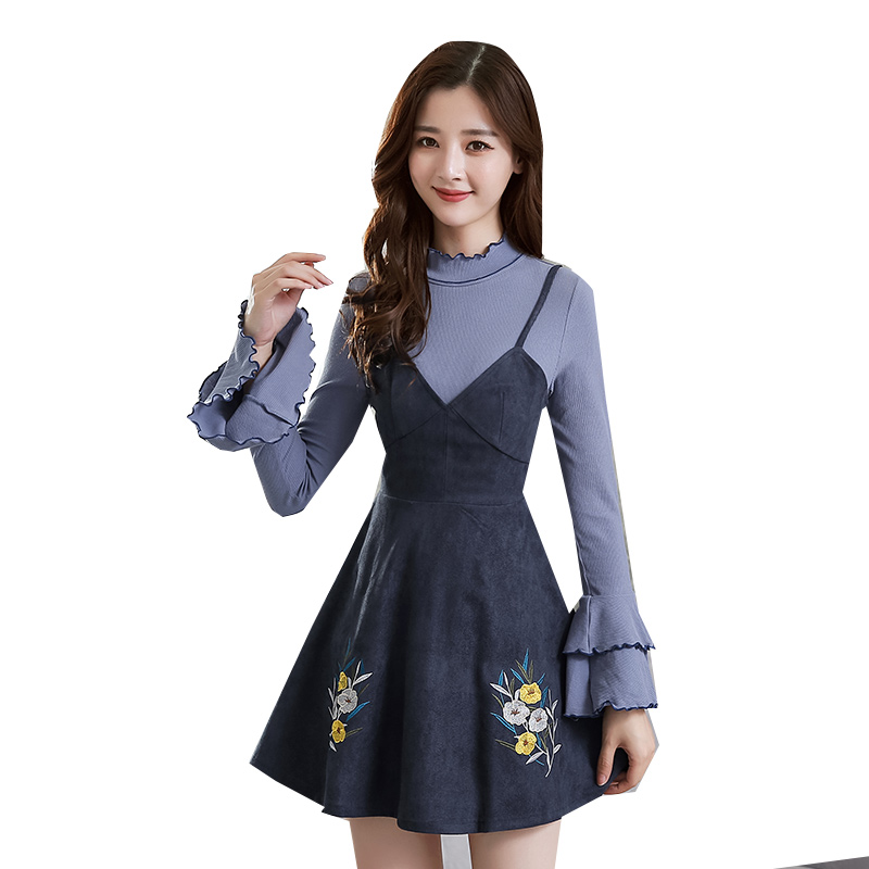 new winter korean fashion girl party suits embroidered flower two-piece clothing set blouse and dress lady outfit suit costume