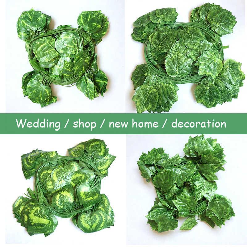 210 CM/lot jedwabne róże fałszywe Creeper zielony liść stroik z bluszczu do domu dekoracje ślubne hurtownie diy wiszące Garland sztuczne kwiaty