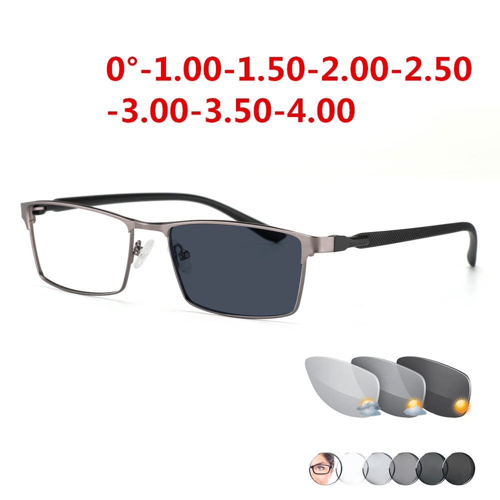 Photochromism Finished Nearsight Myopia Glasses Eyeglasses Frames Degree Lens Diopters Glasses -1 -1.5 -2 -2.5 -3 -3.5 -4