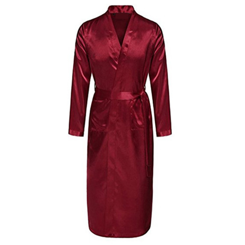 Satin-Robe Pajamas Nightgown Kimono Sleepwear Chinese Red with Belt Home Leisure XL D202-10 title=