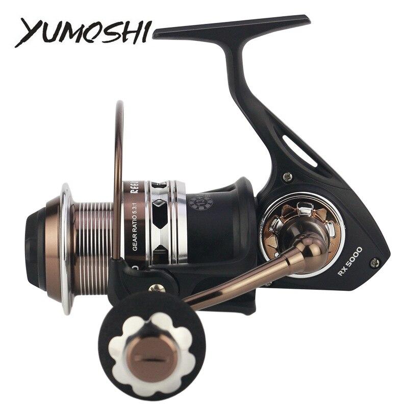 YUMOSHI Fishing Reel RX5000-9000 Full Metal Carbon Brakes Gear Raio 5.3:1 Anti Seawater 14BB Fishing Tackle Spinning Reels Pesca gunnar press ninamees raio piiroja õhuvõitleja isbn 9789949549405
