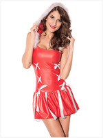 Women Sexy Red Dress Hoodies Christmas Princess Outfit Santa Costume Deguisement Adultes Cosplay Christmas Uniform LC7113