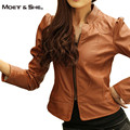 Moet &She New Brand Design  Faux Soft Leather PU Short Jacket For Women Stand Collar Wash Motorcycle Coat Color Camel C66273R