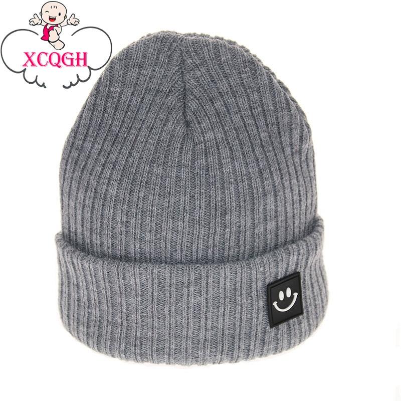 XCQGH Fashion Smile Pattern Children Winter Hat For Girls Skullies Beanies Baby Hat For Boys Cap Kids Winter Warm Women Hat