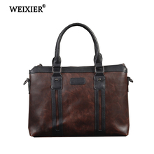 WEIXIER New 2019 Business Travel Simple PU Mens Brand Hot Sale Retro Handbag Short-Distance Designer