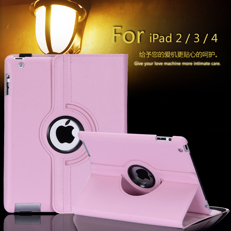For iPad2/3/4 Pu Leather 360 Rotating Case Smart Stand For iPad 2 3 4 Tablet Case + pen + Film