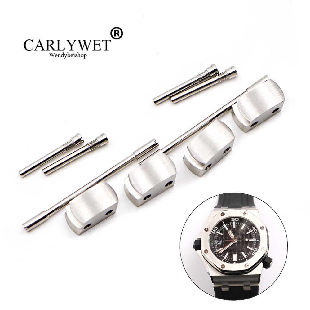 лучшая цена CARLYWET Wholesale 1 Set Plated Conversion Kit for Royal Offshore 42mm Watch Rubber Steel End Link