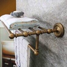 Montado en la pared Retro Vintage latón antiguo baño Toalla grande barra toalla soporte estante baño accesorio mba087