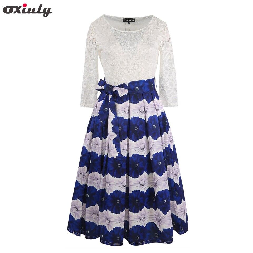Oxiuly automne Vintage 1950 s Style robes imprimé Floral Patchwork dentelle décontracté Occasion spéciale fête a-ligne robe avec ceinture