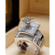 Роскошные квадратные двухслойные Свадебные кольца с кристаллами