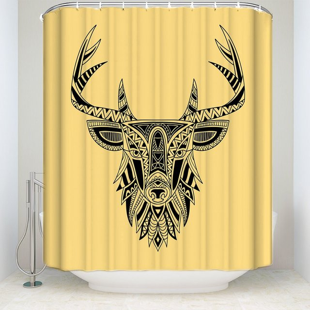 Abstract Ethnic Shower Curtain Deer Head Yellow Background White Black Decor Bathroom Fabric 72X80In