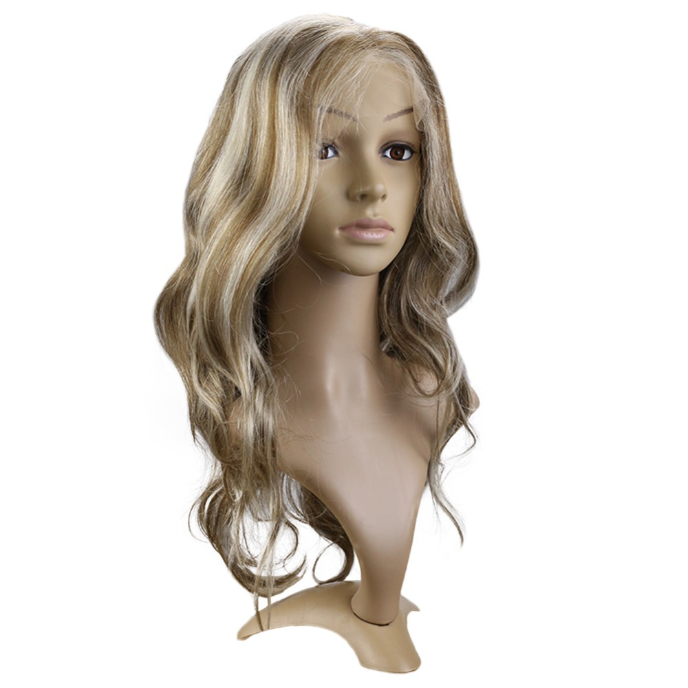 Full Shine Balayage Lace Front Hair Wig Piano Color #8 with #60 - Human Hair (For White)