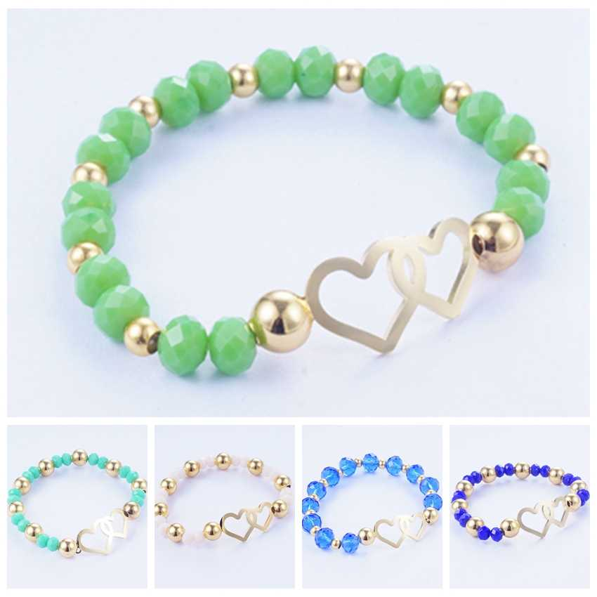 Yunkingdom 5 Colors Stainless Steel Bracelets for Women Adjustable Heart Charm Bracelets Metal Beads Bangles friends Gift
