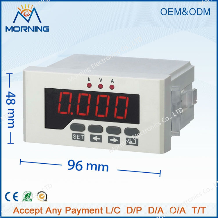 DUI51 Frame Size 96*48mm Single Phase DC LED Digital Display Current Voltage Combined Meter, With 1 transmitting output me 3h61 72 72mm led display 3 phase digital power factor meter support switch input and transmitting output