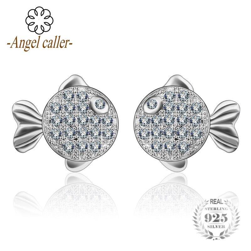 Ангел абонент 925 серебро Поцелуй Рыба серьги Романтический Сияющий белый AAA циркония для Для женщин модное Fine Jewelry