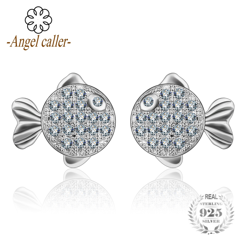 Angel Caller 925 Sterling Silver Kiss Fish Stud Earrings Romantic Shining White AAA Zirconia for Women Fashional Fine Jewelry