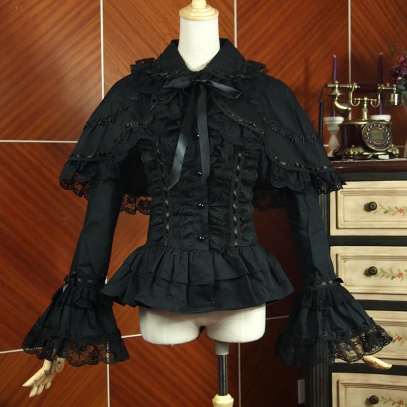 Spring women white shirt Vintage Victorian Ruffled lace shirts Ladies gothic Shawls blouse lolita costume